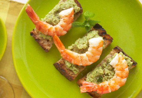 Daring Pairing: David Kinch's Shrimp tartine with fava bean, almond and mint pesto